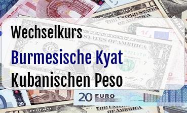 Burmesische Kyat in Kubanischen Peso