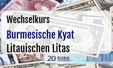 Burmesische Kyat in Litauischen Litas