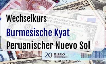 Burmesische Kyat in Peruanischer Nuevo Sol