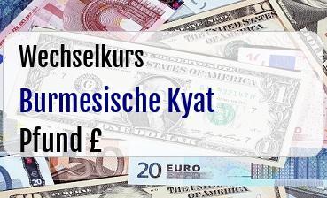 Burmesische Kyat in Britische Pfund