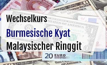 Burmesische Kyat in Malaysischer Ringgit