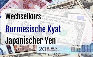 Burmesische Kyat in Japanischer Yen