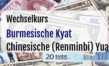 Burmesische Kyat in Chinesische (Renminbi) Yuan