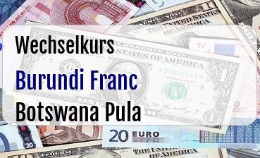 Burundi Franc in Botswana Pula