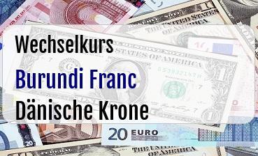 Burundi Franc in Dänische Krone