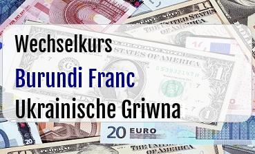 Burundi Franc in Ukrainische Griwna
