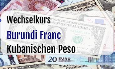 Burundi Franc in Kubanischen Peso