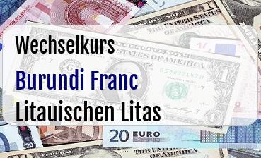 Burundi Franc in Litauischen Litas
