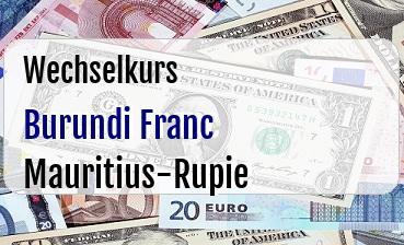 Burundi Franc in Mauritius-Rupie