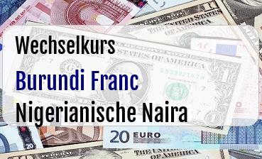 Burundi Franc in Nigerianische Naira