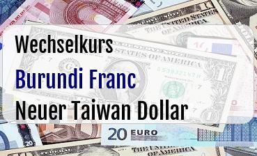 Burundi Franc in Neuer Taiwan Dollar