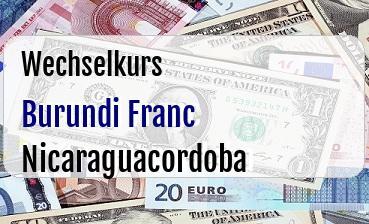 Burundi Franc in Nicaraguacordoba