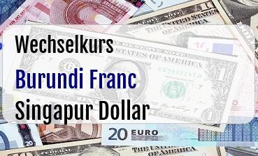 Burundi Franc in Singapur Dollar