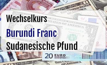Burundi Franc in Sudanesische Pfund