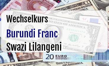 Burundi Franc in Swazi Lilangeni