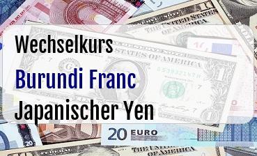 Burundi Franc in Japanischer Yen