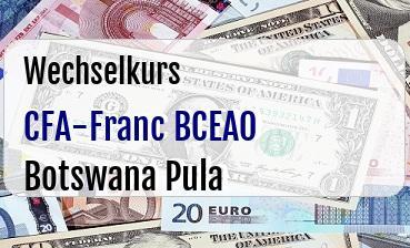 CFA-Franc BCEAO in Botswana Pula
