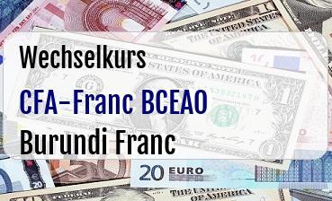 CFA-Franc BCEAO in Burundi Franc