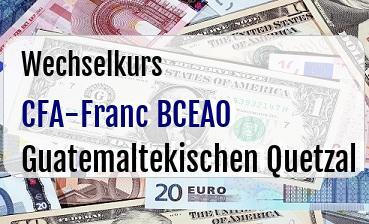 CFA-Franc BCEAO in Guatemaltekischen Quetzal