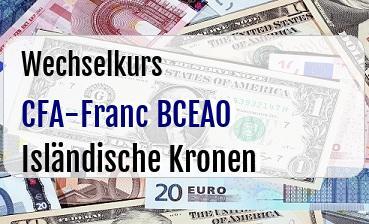 CFA-Franc BCEAO in Isländische Kronen