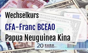 CFA-Franc BCEAO in Papua Neuguinea Kina