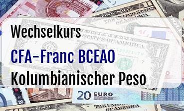 CFA-Franc BCEAO in Kolumbianischer Peso