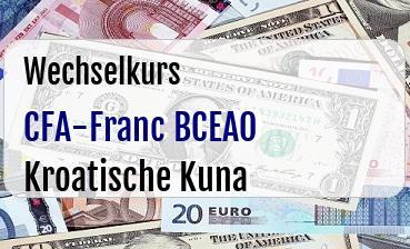 CFA-Franc BCEAO in Kroatische Kuna