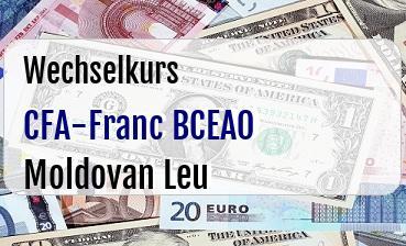 CFA-Franc BCEAO in Moldovan Leu