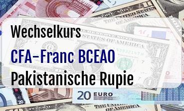 CFA-Franc BCEAO in Pakistanische Rupie