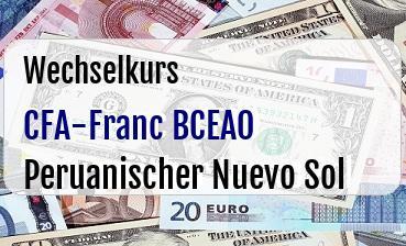 CFA-Franc BCEAO in Peruanischer Nuevo Sol