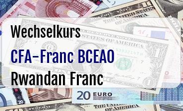 CFA-Franc BCEAO in Rwandan Franc
