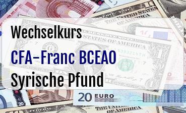 CFA-Franc BCEAO in Syrische Pfund