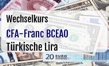 CFA-Franc BCEAO in Türkische Lira