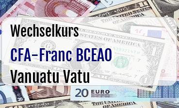 CFA-Franc BCEAO in Vanuatu Vatu