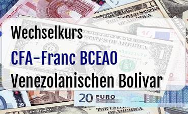 CFA-Franc BCEAO in Venezolanischen Bolivar