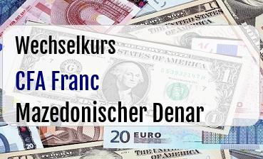 CFA Franc in Mazedonischer Denar
