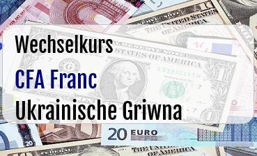 CFA Franc in Ukrainische Griwna