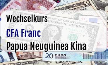 CFA Franc in Papua Neuguinea Kina