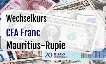 CFA Franc in Mauritius-Rupie