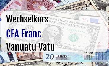 CFA Franc in Vanuatu Vatu