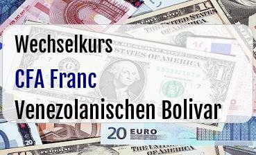 CFA Franc in Venezolanischen Bolivar