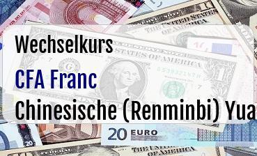 CFA Franc in Chinesische (Renminbi) Yuan