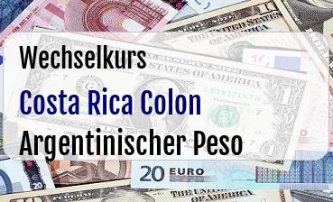 Costa Rica Colon in Argentinischer Peso