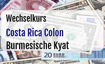 Costa Rica Colon in Burmesische Kyat