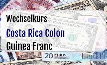 Costa Rica Colon in Guinea Franc