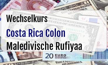 Costa Rica Colon in Maledivische Rufiyaa