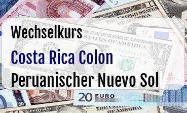 Costa Rica Colon in Peruanischer Nuevo Sol