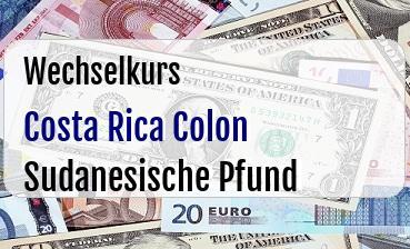 Costa Rica Colon in Sudanesische Pfund