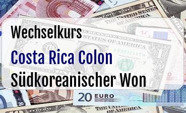 Costa Rica Colon in Südkoreanischer Won