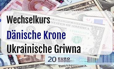 Dänische Krone in Ukrainische Griwna